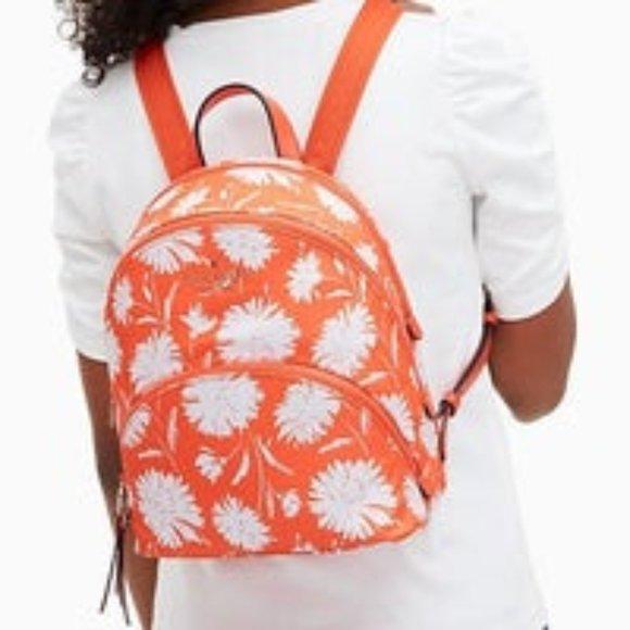 Kate Spade Orange & White Nylon Med Backpack